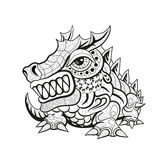 Zentangle tribal dragon designs. Black and white ornament graphics. Suitable for tattoo, pendant, carving, coloring book. illustration Royalty Free Illustration