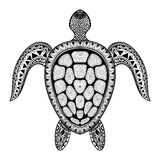 Zentangle tribal stylized turtle. Hand Drawn aquatic doodle vect Royalty Free Stock Image