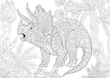 Zentangle triceratops dinosaur Stock Images