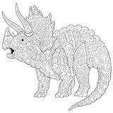 Zentangle triceratops dinosaur Royalty Free Stock Photography