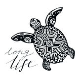 Zentangle turtle with calligraphic quote - Long life. Vector for tattoo, emblem, logo. Design Royalty Free Stock Photos