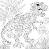 Zentangle tyrannosaurus dinosaur. Stylized tyrannosaurus t rex dinosaur of the late Cretaceous period. Freehand sketch for adult anti stress coloring book page Stock Image