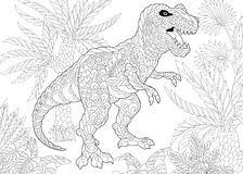 Zentangle tyrannosaurus dinosaur. Stylized tyrannosaurus t rex dinosaur of the late Cretaceous period. Freehand sketch for adult anti stress coloring book page Royalty Free Stock Photography