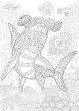 Zentangle underwater hammerhead shark Royalty Free Stock Photo
