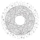 Zentangle upierza mandala, strona dla dorosłej koloryt książki ilustracja wektor