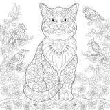 Zentangle vårkatt royaltyfri illustrationer