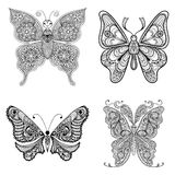 Zentangle vector black Butterflies set  for adult anti stress co Royalty Free Stock Image
