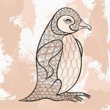 Zentangle vector black King Penguin, tattoo design. Royalty Free Stock Photos