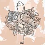 Zentangle vector Flamingo in hibiskus, tattoo design in doodle  Stock Photo