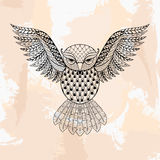 Zentangle vector Owl, tattoo in hipster style. Ornamental tribal Royalty Free Stock Photo