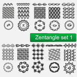 Zentangle Vector seamless patterns and brushes set 1, hand drawn frames Monochrome hipster prints, backgrounds with Royalty Free Stock Images