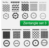Zentangle Vector seamless patterns and brushes set , hand drawn frames Monochrome hipster prints, backgrounds  Stock Image