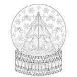 Zentangle vector Snow globe with Christmas fir tree, snowflakes. Inside. Holiday adult antistress coloring page, decorative patterned illustration for greeting Royalty Free Stock Images