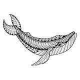 Zentangle vector Whale for adult anti stress coloring pages. Ornamental tribal patterned illustratian for tattoo, poster or print