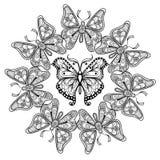 Zentangle vectorcirkel van vliegende Vlinders Stock Afbeeldingen