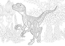 Zentangle velociraptor dinosaur Stock Photography