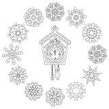 Zentangle wall clock and Christmas snowflakes Stock Photo
