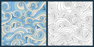 Zentangle waves ocean water vector antistress. Zentangle antistress coloring page for adults anstract waves ocean symbol vector illustration. Handdrawn water Royalty Free Stock Image