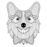 Zentangle Welsh Corgi with bow tie in monochrome doodle style. H Stock Photography
