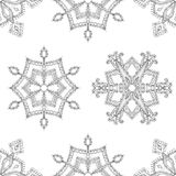 Zentangle winter snowflakes seamless pattern for Christmas, New Royalty Free Stock Photos