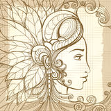 Zentangle woman face on notebook background Royalty Free Stock Photo