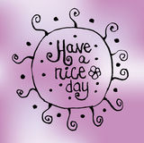 Zentangle-Zeichnung mit Mustern und Wunsch eines schönen Tages auf einem rosa Hintergrund postkarte T-Shirt Lizenzfreies Stockbild