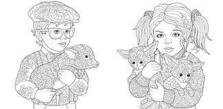 Zentangleart. Kleurende pagina's Kleurend boek voor volwassenen Kleuringsbeelden die met kinderen varken en vossen omhelzen Vecto stock illustratie