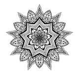 Zentangled den dekorativa Lotus för vektorn mandalaen, person som tillhör en etnisk minoritet hennatatueringen Arkivbilder