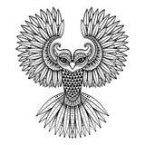Zentangled den dekorativa ugglan för vektorn, person som tillhör en etnisk minoritet maskot, amuletten, maskering Royaltyfri Fotografi