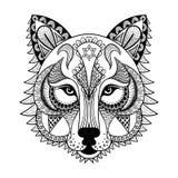 Zentangled den dekorativa vargen för vektorn, person som tillhör en etnisk minoritet maskot, amuletten, maskering Arkivbild