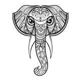 Zentangled det dekorativa huvudet för vektorn av elefanten, person som tillhör en etnisk minoritet maskot stock illustrationer