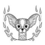 Zentangledesert Fox head totem in frame for adult anti stress Royalty Free Stock Photo