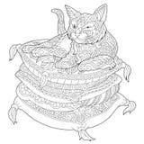 Zentanglekat op hoofdkussen royalty-vrije illustratie