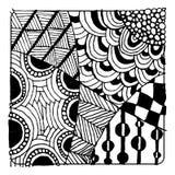 Zentangleornament, schets voor uw ontwerp Stock Afbeelding