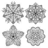 Zentangles abstraits de mandala réglés Image stock