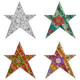 Zentova och zenklotteruppsättning av stjärnan Zentangle och zendoodlevektor Arkivfoto