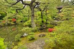 Zenträdgård, Ginkakuji tempel, Kyoto arkivfoto