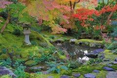 Zenträdgård på nedgångsäsongen på Japan på Rurikoin royaltyfri fotografi