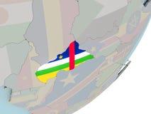 Zentralafrika auf Kugel mit Flaggen Lizenzfreies Stockbild