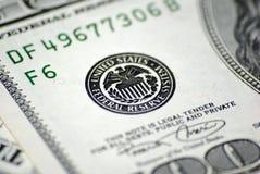 Zentralbank-System auf Dollarbanknote Lizenzfreie Stockfotos