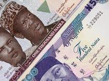Zentrale Banknoten nigerischen Währung Naira, Nigeria-Geld stockfoto