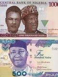 Zentrale Banknoten nigerischen Währung Naira, Nigeria-Geld lizenzfreies stockfoto