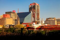 Zentrale Geschäftsgebietgebäude und -straßen Johannesburgs Lizenzfreies Stockbild
