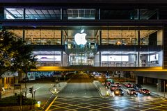 Zentrale, Hong Kong - 28. September 2017: Apple-Speicher von IFC-Mall von Hong Kong Lizenzfreie Stockfotos