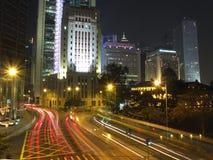 Zentrale Nachtszene, Hong Kong Stockbilder