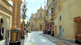 Zentrale Straßen von Rabat, Malta stock video footage