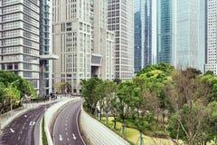 Zentrale Straßen von Shanghai-Stadt morgens Stockfotos
