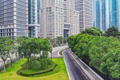 Zentrale Straßen von Shanghai-Stadt morgens Stockfoto