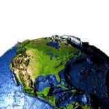 Zentrale und Nordamerika auf Erde mit übertriebenen Bergen Stockfoto