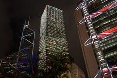 Zentraler Bezirk von Hong Kong am Abend Lizenzfreies Stockbild